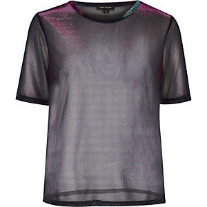 Metallic purple sheer T-shirt