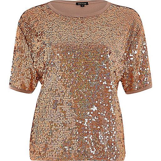 Kastiges Pailletten-T-Shirt in Gold