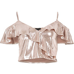 SIlver frilly cold shoulder crop top