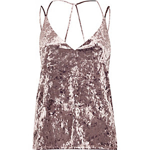 Light purple velvet strappy cami