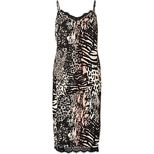 Pink animal print midi slip dress