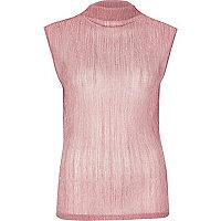 Metallic pink pleated tank top