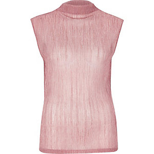 Metallic pink pleated tank top