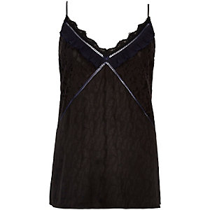 Black jacquard lace trim cami top