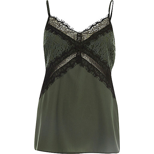 Green lace trim cami top