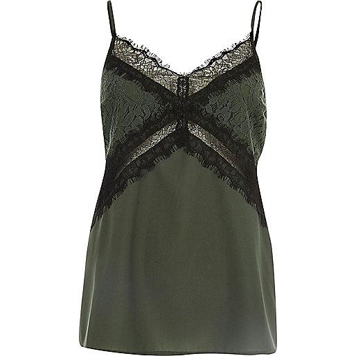 Green lace trim cami top