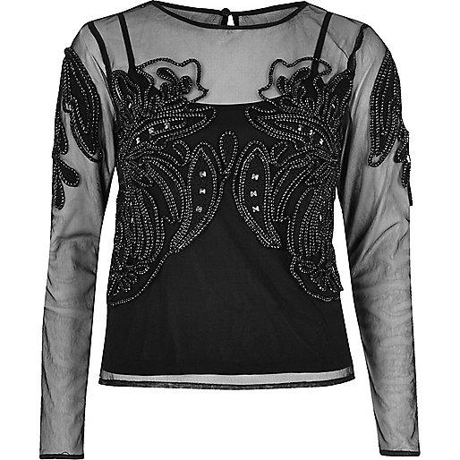 Black embellished mesh top