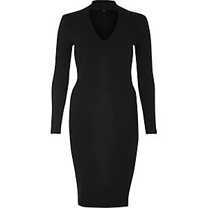 Black ribbed choker bodycon dress