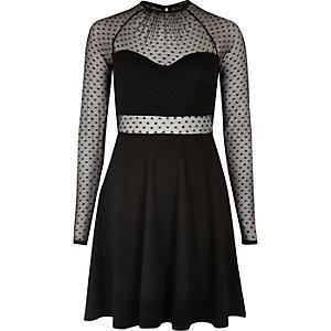 Black mesh panel skater dress