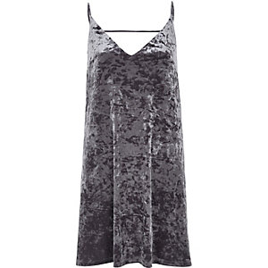 Grey marble velvet mini slip dress