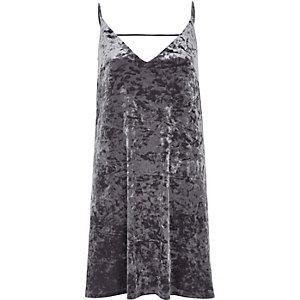 Mini-robe à enfiler en velours gris marbré