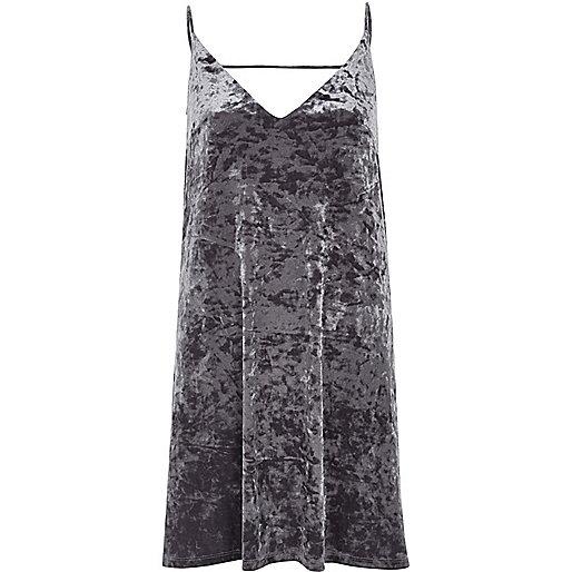 Grey marble velvet mini slip dress