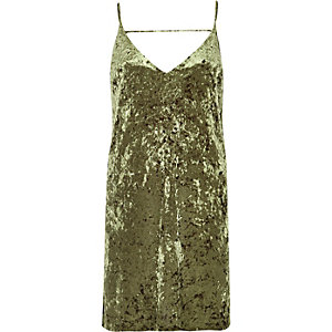 Khaki marble velvet mini slip dress