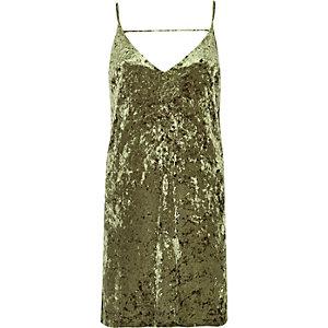 Khaki marble velvet mini slip dress