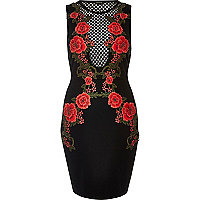 Black rose mesh bodycon dress
