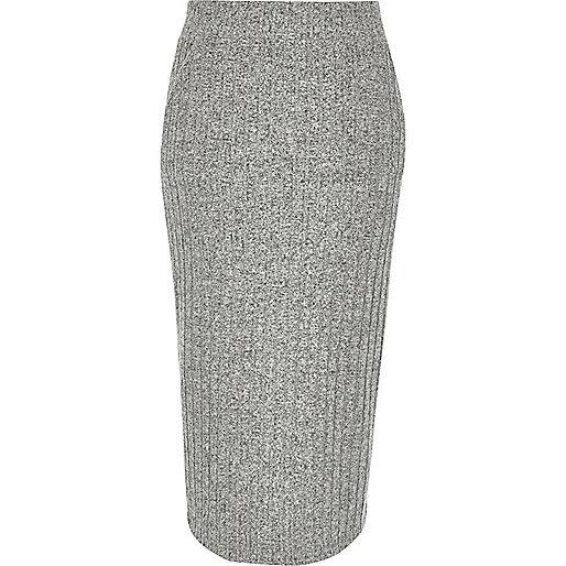 Grey ribbed midi pencil skirt