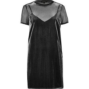 Transparentes T-Shirt-Kleid in Grau-Metallic