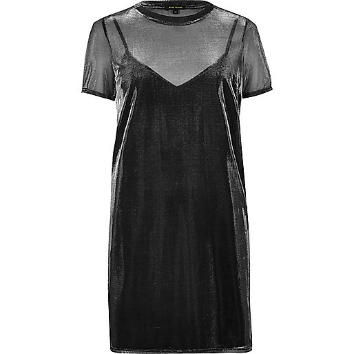 Transparentes T-Shirt-Kleid in Grau-Metallic