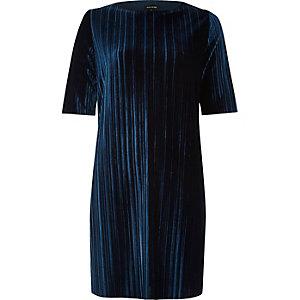 Navy velvet pleated dress