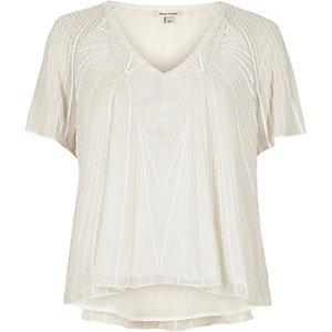 Cream embellished T-shirt