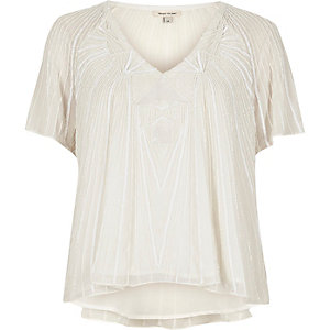 Verziertes T-Shirt in Creme