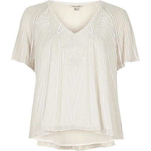 Verziertes T-Shirt in Creme