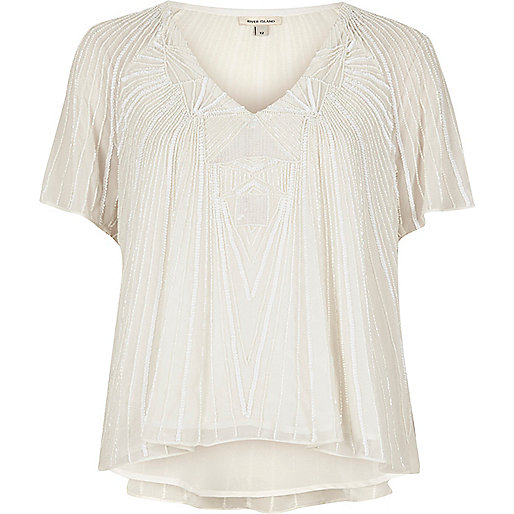 Cream embellished T-shirt
