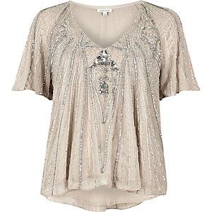 Hellgraues, verziertes T-Shirt