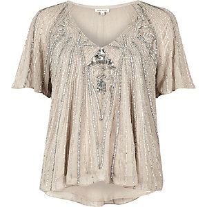 Light grey embellished T-shirt