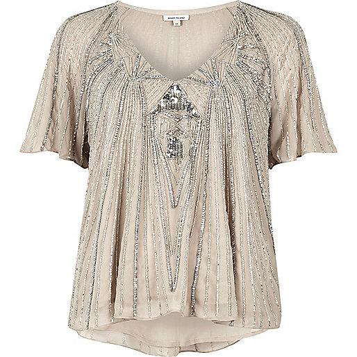 Light grey embellished T-shirt