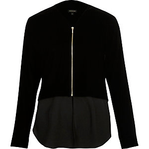 Black velvet contrast hem shacket
