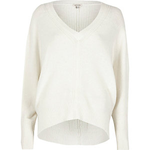 Cream ribbed panel batwing sweater