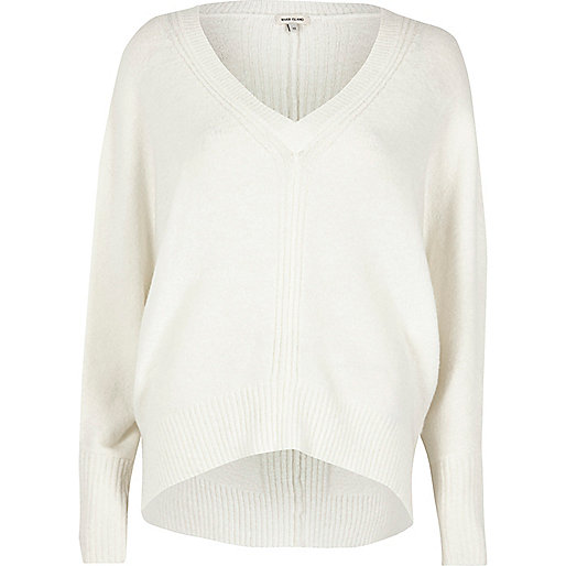 Cream ribbed panel batwing jumper