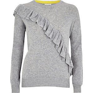 Grey asymmetric ruffle jumper
