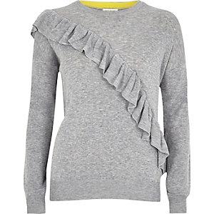Grey asymmetric ruffle jumper