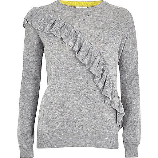 Grey asymmetric ruffle sweater