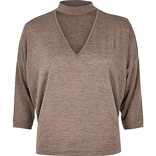 Light brown keyhole knit jumper
