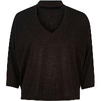 Top noir effet ras du cou en tricot
