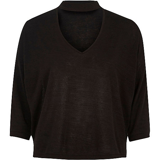Black keyhole knit jumper