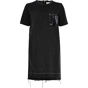 Black sequin pocket denim dress