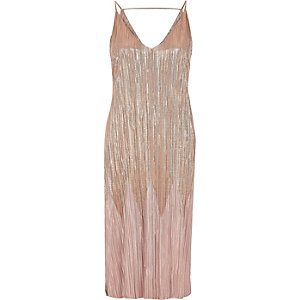 Rose gold metallic pleated midi dress