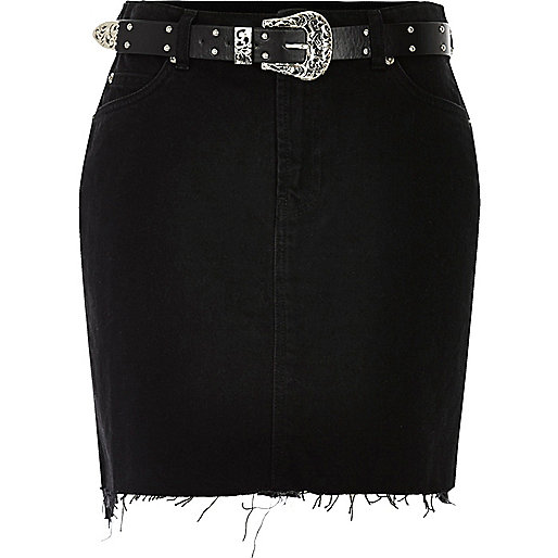 Jupe en jean noir à ceinture style western et ourlet effiloché