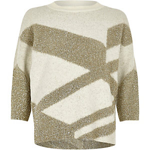 Gold tinsel knit Christmas sweater