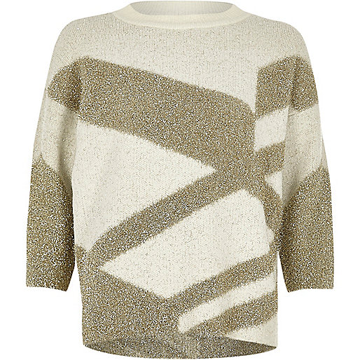 Gold tinsel knit Christmas jumper