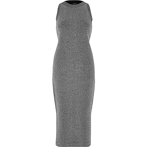 Silver sparkly knit bodycon dress