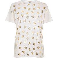 White metallic foil star print T-shirt