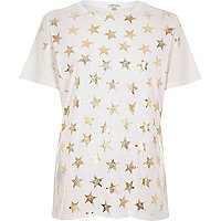 White metallic star print T-shirt