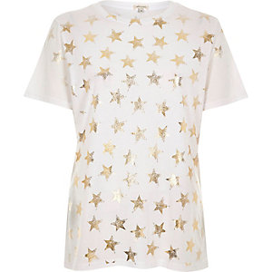White metallic foil star print T-shirt