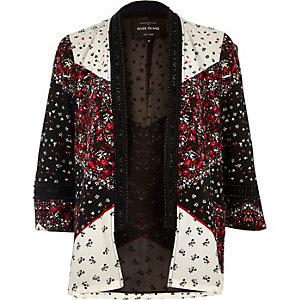 Kimono noir imprimé à ornements