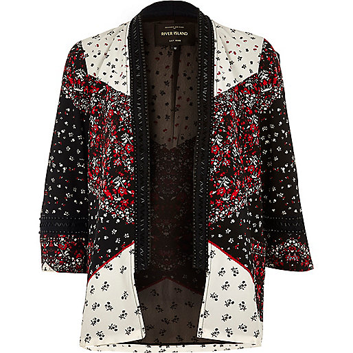 Black print embellished kimono